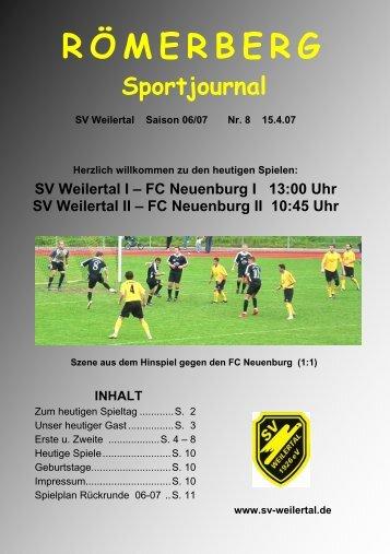 Heft Nr. 8 vom 15.4.07 - SV Weilertal