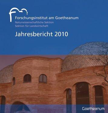 Jahresbericht 2010 des Forschungsinstituts am Goetheanum