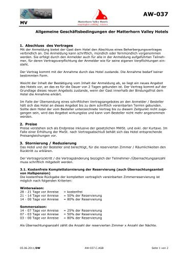 Allgemeine Geschäftsbedingungen - Matterhorn Valley Hotels