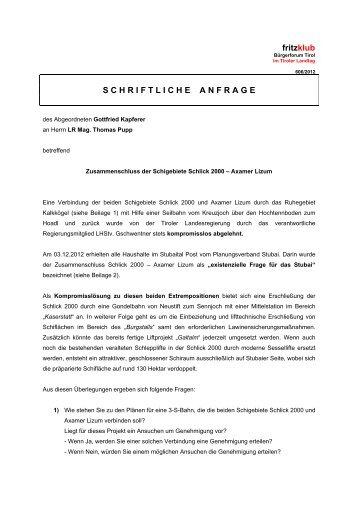 Zusammenschluss der Schigebiete Schlick 2000 ... - Liste Fritz