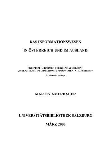 Das Informationswesen in Österreich und im ... - Amerbauer Martin