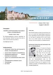Newsletter Nr. 19, Wagner & Joos Rechtsanwälte