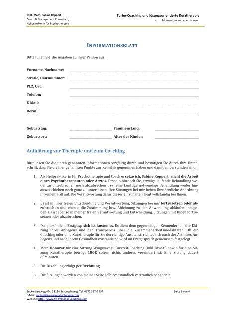 Informationsblatt Aufklarung Zur Therapie Und Zum Coaching