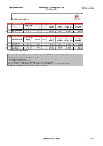 SEAT Altea Freetrack Verkaufsprogramm ... - Autohaus Bohnes