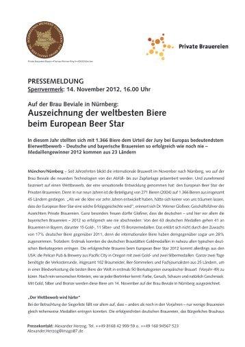 Auszeichnung der weltbesten Biere beim European ... - Brau Beviale