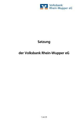 Satzung der Volksbank Rhein-Wupper eG