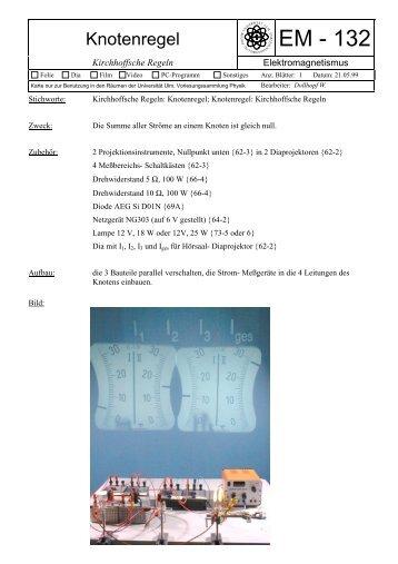 Versuchskarte - Vorlesungssammlung Physik - Universität Ulm