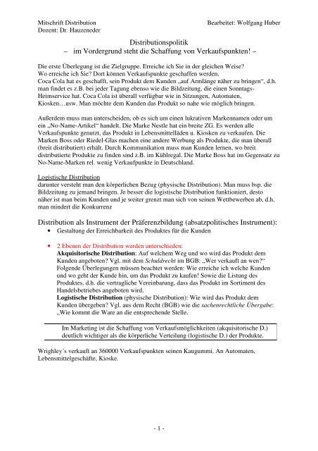 Distributionspolitik - Privathomepage von Wolfgang Huber
