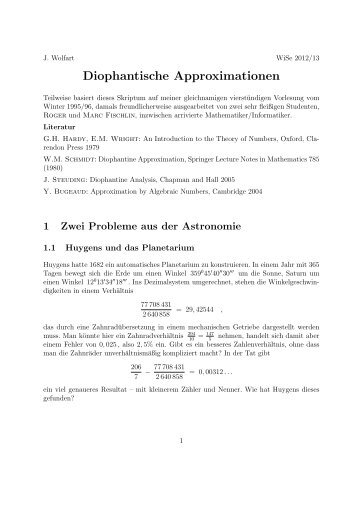 Diophantische Approximationen