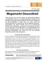Medieninfo vom 09.09.2003: Megamarkt Gesundheit. - TMG