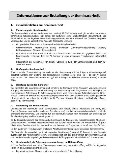 Informationen Zur Erstellung Der Seminararbeit Holbein Gymnasium