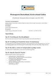 Protokoll der Vorstandssitzung - Gießen