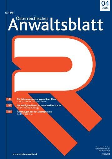 Anwaltsblatt 2006/04 - Österreichischer Rechtsanwaltskammertag