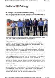 Presseartikel der Badischen Zeitung vom 22. September 2012
