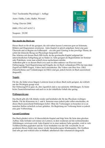 Titel: Taschenatlas Physiologie 1. Auflage Autor: Fahlke, Linke ...