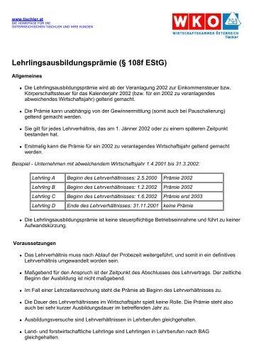 Lehrlingsausbildungsprämie (§ 108f EStG) - Tischler
