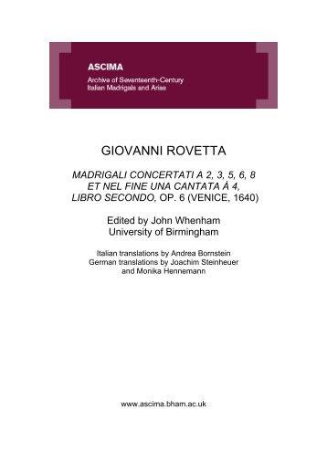 GIOVANNI ROVETTA - University of Birmingham