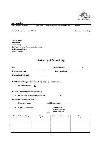 Stundungsantrag für juristische Personen - Selm