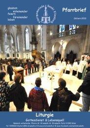 Pfarrbrief OSTERN 2013 ist online - Pfarrgemeinde Sankt Elisabeth