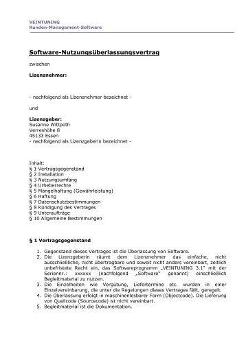 lizenzvertrag veintuning - Lizenzvertrag Muster