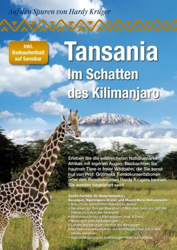 Im Schatten des Kilimanjaro - Anton Götten Reisen
