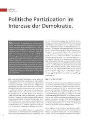 Politische Partizipation im Interesse der Demokratie. - terra cognita