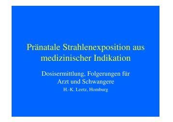 Pränatale Strahlenexposition aus medizinischer Indikation