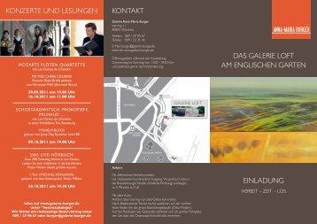 Galerie Burger / Einladung + Konzertprogramm - Sinwel.com