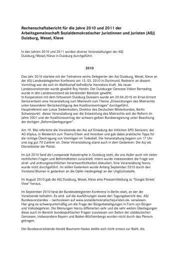 Rechenschaftsbericht für die Jahre 2010 und 2011 ... - SPD Duisburg