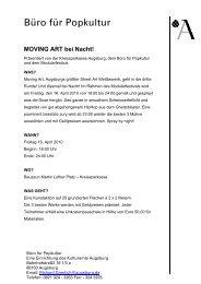 Detaillierte Infos gibt es hier. - Büro für Popkultur Augsburg