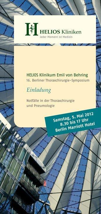 Einladung zum 16. Berliner Thoraxchirurgie-Symposium