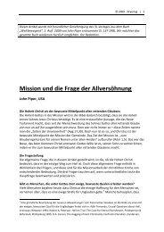 Mission und die Frage der Allversöhnung