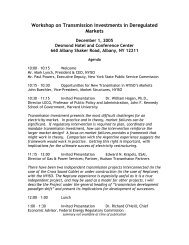 Workshop on Transmission Investments in Deregulated ... - NYISO