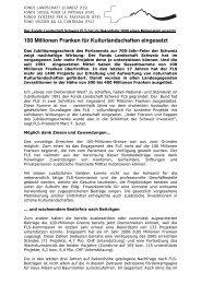Medienmitteilung 19. Oktober 2007 - Fonds Landschaft Schweiz