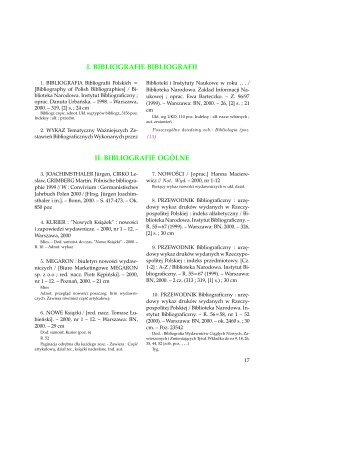 I. BIBLIOGRAFIE BIBLIOGRAFII II ... - MAK - Biblioteka Narodowa