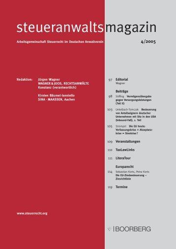 steueranwaltsmagazin 4 /2005 - Wagner-Joos Rechtsanwälte