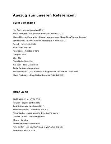 Auszug aus unseren Referenzen - 2Inch Records