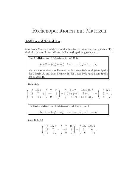 rechenoperationen mit matrizen mathe online. Black Bedroom Furniture Sets. Home Design Ideas