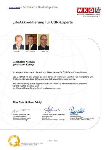 """""""ReAkkreditierung für CSR-Experts - Incite"""