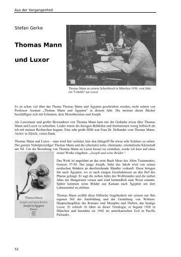 Thomas Mann und Luxor - Das Papyrus Magazin