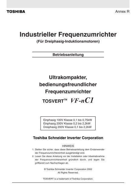 VF-nC1 Industrieller Frequenzumrichter - Nuova Elva