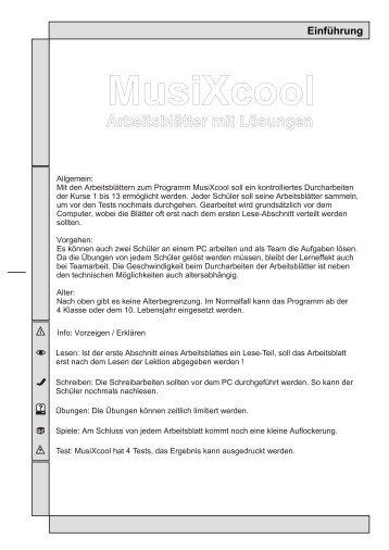 Arbeitsblätter mit Lösungen - midi-connections
