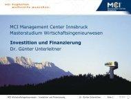 Investition und Finanzierung - Dr. Günter Unterleitner