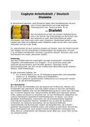 Arbeitsblatt Deutsch Dialekte - Cogbyte