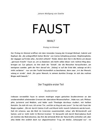 Inhalt von Faust I + II