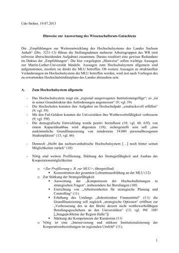 1 Udo Sträter, 19.07.2013 Hinweise zur Auswertung des ...