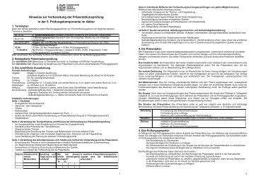 Hinweise zur Vorbereitung der Präsentationsprüfung - Evangelische ...
