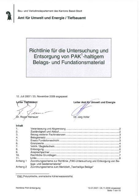 Richtlinie betr. Entsorgung PAK-haltiges Material - Tiefbauamt ...