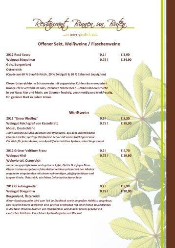 Die Weinkarte als PDF downloaden - Restaurant Binnen un Buten