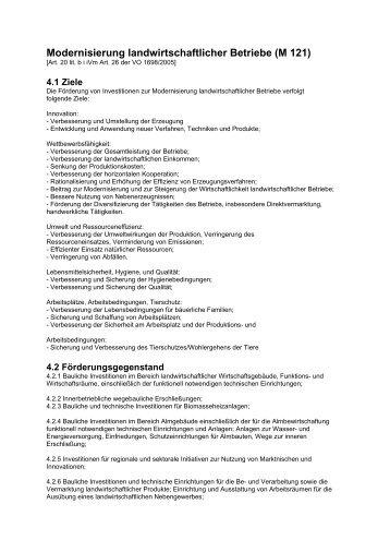 M121 Modernisierung landwirtschaftlicher Betriebe